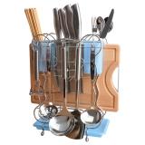 美厨(maxcook)刀架砧板架 厨房置物架沥水架筷子筒收纳架 带托盘防生锈合金颜色随机MSSB732-A