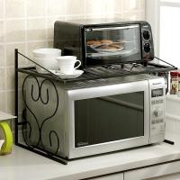 欧润哲 微波炉架 铁艺双层空间厨房用烤箱收纳架 黑色