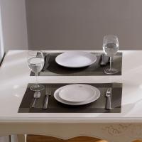欧润哲 餐垫 桌面双框隔热桌垫 4块装 银灰色