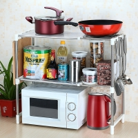 美厨(maxcook)厨房置物架收纳架 不锈钢微波炉架MCWA-ZWJ01 可拉伸可调节层高 带挂钩带胶垫