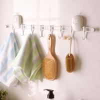 欧润哲 挂架 吸盘按钮式8钩免钉衣物厨具毛巾浴室挂钩