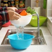 欧润哲 沥水蔬果篮 PP双层洗菜篮 玫红色蓝色 2套