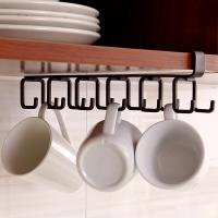 欧润哲 下挂置物架 6钩厨房免钉置物架汤勺锅铲挂架杯子收纳架橱柜下挂式杂物收纳架