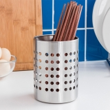 欧润哲 筷子筒 不锈钢直筒型餐具收纳筒沥水置物筷子架