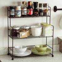 欧润哲 置物架 大号3层调味架多用途厨房调料瓶罐收纳架浴室桌面杂物架 棕色