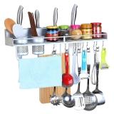 美厨(maxcook)厨房置物架壁挂 免打孔太空铝50cm双杯 带护栏厨房挂件刀架调料架筷子筒MCWA-GJ502