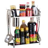美厨(maxcook)厨房置物架不锈钢双层调味瓶架 带挂钩筷子筒 MC2033