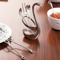 欧润哲 餐具架 不锈钢创意天鹅精美水果叉勺座套装