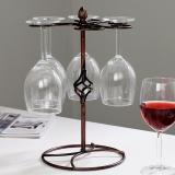 欧润哲 杯架 高脚6杯置物沥水架红酒杯挂架收纳架 家用厨房饭厅餐厅橱柜杯具架 古铜色