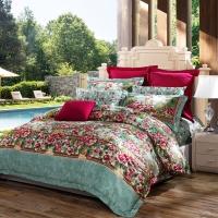富安娜家纺 床上用品六件套贡缎纯棉全棉床品套件床单被套 单人双人 巴洛克风情1米8/1米5床(230*229cm)绿色