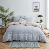 大朴(DAPU)套件家纺 A类床品 精梳纯棉四件套 缎纹印花床单被罩 浅灰条纹 1.5米床 200*230cm