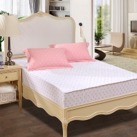富安娜家纺家居用品 床垫防滑床褥床垫子 清雅印花保护床垫玻璃球 床笠款 1.2米床适用 120*200cm 粉色