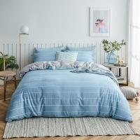 大朴(DAPU)套件家纺 A类床品 精梳纯棉四件套 缎纹印花床单被罩 蓝色条纹 1.5米床 200*230cm