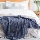 大朴(DAPU)毯子家纺 A类纯棉细条纹毛巾被 舒适毛毯盖毯 薄被 双人 海军蓝 180*200cm