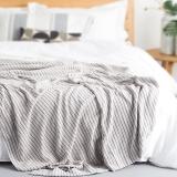 大朴(DAPU)毯子家纺 A类纯棉细条纹毛巾被 舒适毛毯盖毯 薄被 双人 浅米色 180*200cm