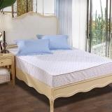 富安娜家纺家居用品 床垫防滑床褥床垫子 清雅印花保护床垫玻璃球 床笠款 1.2米床适用 120*200cm 蓝色