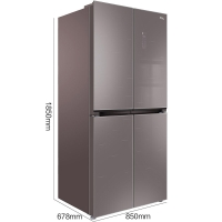 TCL 486升风冷无霜十字对开多门冰箱 电脑温控 彩晶玻璃面板 智能控温(星语棕)BCD-486WBEF2