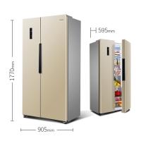 奥马(Homa) 452升变频风冷无霜对开门双开门电冰箱 595mm纤薄机身贴合橱柜 家用 金色 BCD-452WK/B