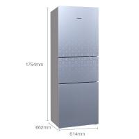西门子(SIEMENS) 274升 三门冰箱 三循环零度保鲜 保湿 玻璃面板(极光银) BCD-274(KG27FS290C)