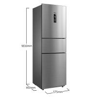 美的(Midea)258升 風冷無霜 電腦控溫 中門24檔調溫三門冰箱速冷速凍 節能 炫彩鋼 BCD-258WTM(E)