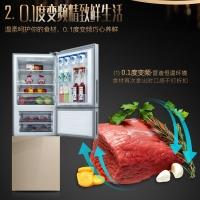 美菱(MELING)266升  一级能效 彩晶玻璃面板 杀菌净味 0.1度双变频 雅典娜三门冰箱BCD-266WP3BX