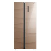 美菱(MELING)452升 对开门电冰箱 彩晶玻璃面板 风冷无霜 54cm纤薄机身 AC+净味 流沙金棕 BCD-452WUEBX