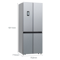 西门子(SIEMENS) 452升 变频混冷十字对开门多门冰箱 零度保鲜(银色) BCD-452W(KM46FA09TI)