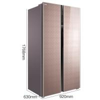 TCL 520升 变频风冷无霜对开门双开门电冰箱 AAT负氧离子养鲜 彩晶玻璃面板 电脑温控(格雅金)BCD-520WBEPF2