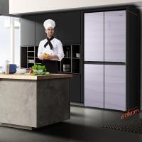 奧馬 (Homa) 370升 十字對開多門電冰箱 纖薄嵌入 風冷無霜 藍晶凈味 零度保鮮 玻璃面板 極光紫 BCD-370WDJG