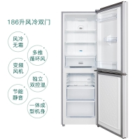 TCL 186升 風冷無霜雙門冰箱 小型兩門迷你電冰箱 雙控溫電腦溫控 勻流制冷不風干(珍珠白)BCD-186WZA50