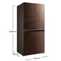 美的(Midea)476升 十字对开门冰箱 一级能效 多维智能双变频无霜 电冰箱 伯爵咖BCD-476WGPM(E)