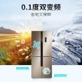 美菱(MELING)432升 十字对开多门电冰箱 双变频一级能效智能APP 风冷无霜变温保鲜室 浅木棕 BCD-432WPU9CX