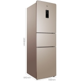 TCL 228升 風冷無霜三門電冰箱 AAT負離子養鮮 電腦控溫 獨立三溫區 (流光金)BCD-228TEWF1