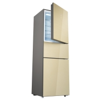 美菱(MELING)220升 小型三门电冰箱 风冷无霜 玻璃面板 变频一级能效 节能静音 碧玺金 BCD-220WPU3BX