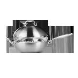 中式不锈钢多用炒锅30cm30cm/带蒸格/燃气炉电磁炉通用