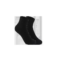 女式温暖毛圈底中筒袜黑色(两双装)
