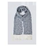 经典人字纹纯山羊绒围巾灰色