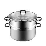 雙層不銹鋼防燙蒸鍋28cm口徑/約9.0L容量/有蓋/蒸格/直火電磁爐通用