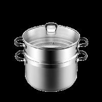 雙層不銹鋼防燙蒸鍋24cm口徑/約6.0L容量/有蓋/蒸鍋/直火電磁爐通用
