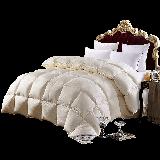 霞珍 被芯家紡 95%白鵝絨羽絨被 全棉雙人冬被加厚被子   金玉滿堂 米黃色 填充1.56kg 200*230cm