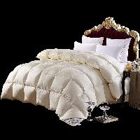 霞珍 被芯家纺 95%白鹅绒羽绒被 全棉双人冬被加厚被子   金玉满堂 米黄色 填充1.56kg 200*230cm
