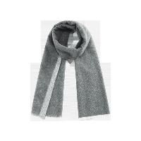 双面雅致纯羊毛围巾双面灰色