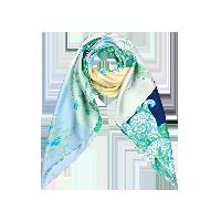航海印花 女式100%真丝大方巾清风绿