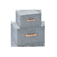 连盖收纳盒两件组合装浅灰系列
