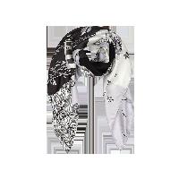 航海印花 女式100%真丝大方巾优雅灰