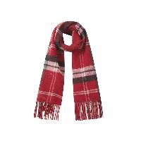 双面格纹纯羊毛围巾金丝红格纹