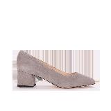 女式羊反绒复古粗跟鞋灰色*38