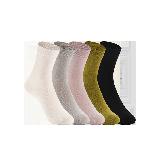 女式原野系列中筒袜灰色/粉色/白色/黑色/草绿色(混色五双装)