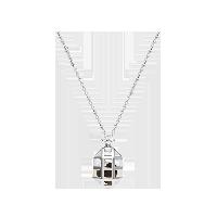 金曜石镂空凤梨银项链银色