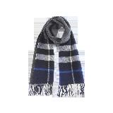 双面格纹纯羊毛围巾深灰蓝黑格